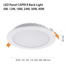 LED ЛУНА CAPRI R BACK LIGHT 3,6,12,18,24,30W / 4000K, round