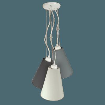 Висящо осветително тяло 3-ка пендел серия - Pisa, абажур Cotton