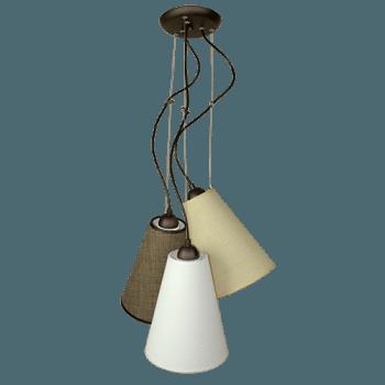 Висящо осветително тяло 3-ка пендел серия - Pisa, абажур Sami
